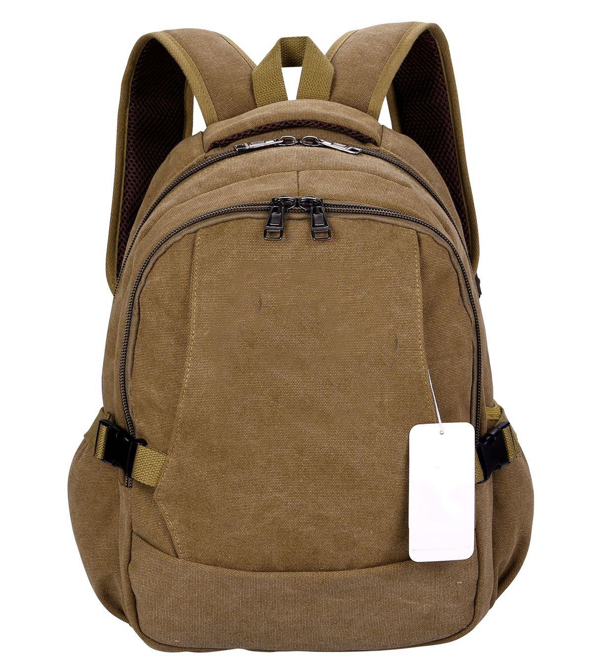 Laptop Backpack,VIDENG Business Canvas Handbags Bookbag for College Travel Backpack for Under 15 17 Inch Laptop (BCS-Brown) by VIDENG (Image #1)