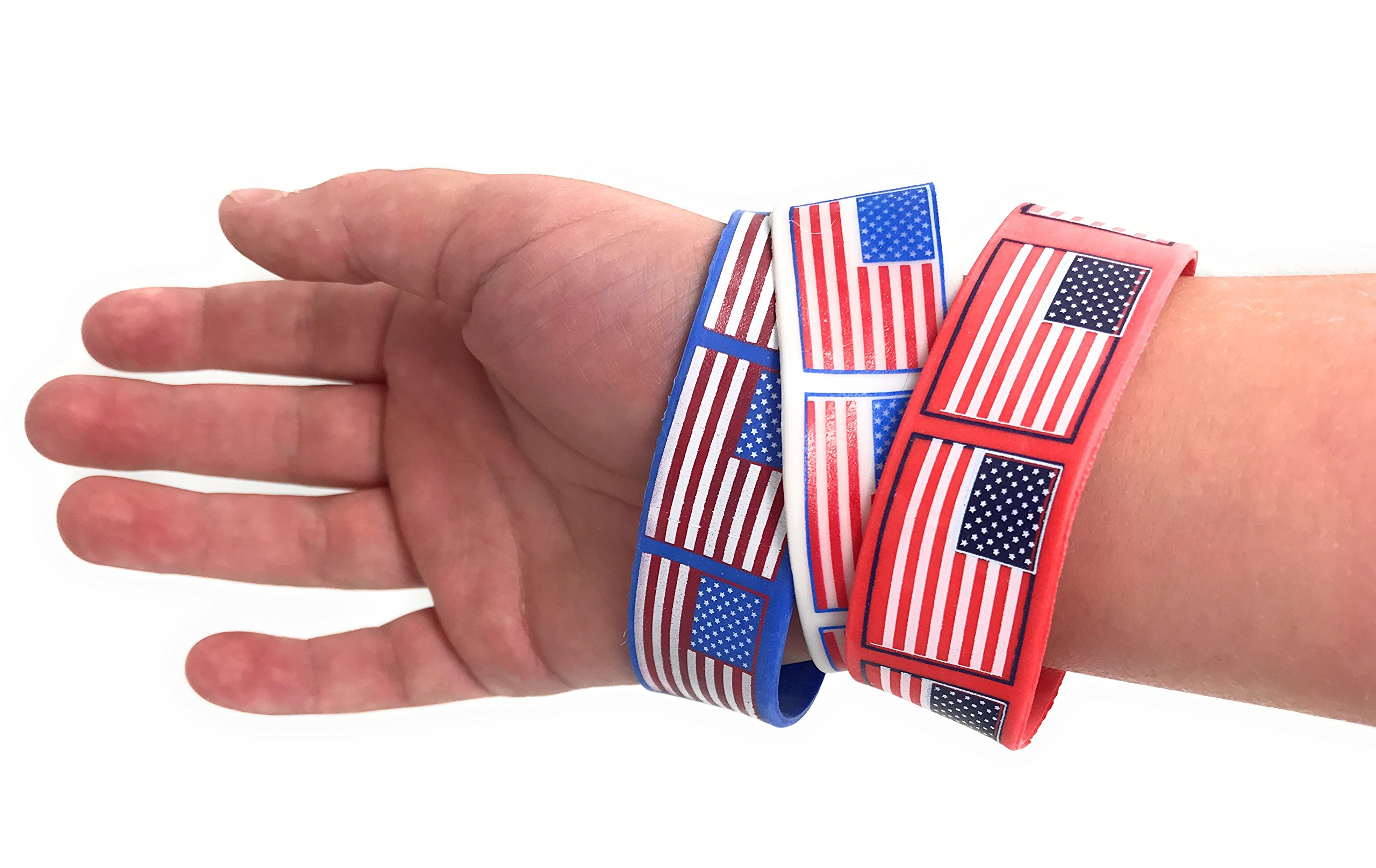 Bulk 48 Pack of American Flag Bracelets - Ideal Party Favors for Fourth of July Parades, 4th of July Parties, BBQ's, Picnics and Family Events by SVT (Image #3)