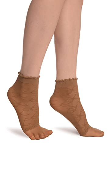de46cf5be Image Unavailable. Image not available for. Color  Beige Patterned Mesh   Sheer  Toes Socks Ankle High ...
