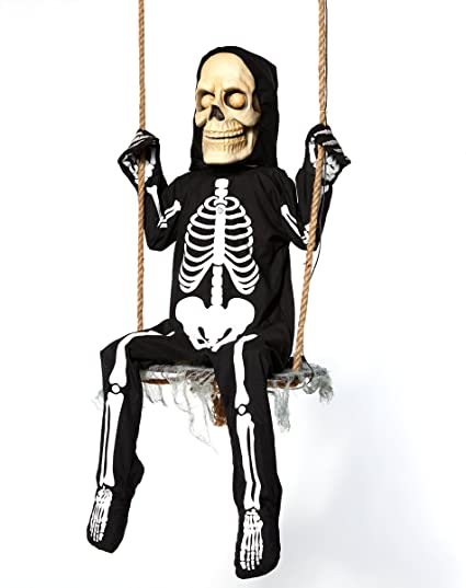 Amazon.com: Spirit Halloween 3 Ft Swinging Skeleton Boy Animatronics ...