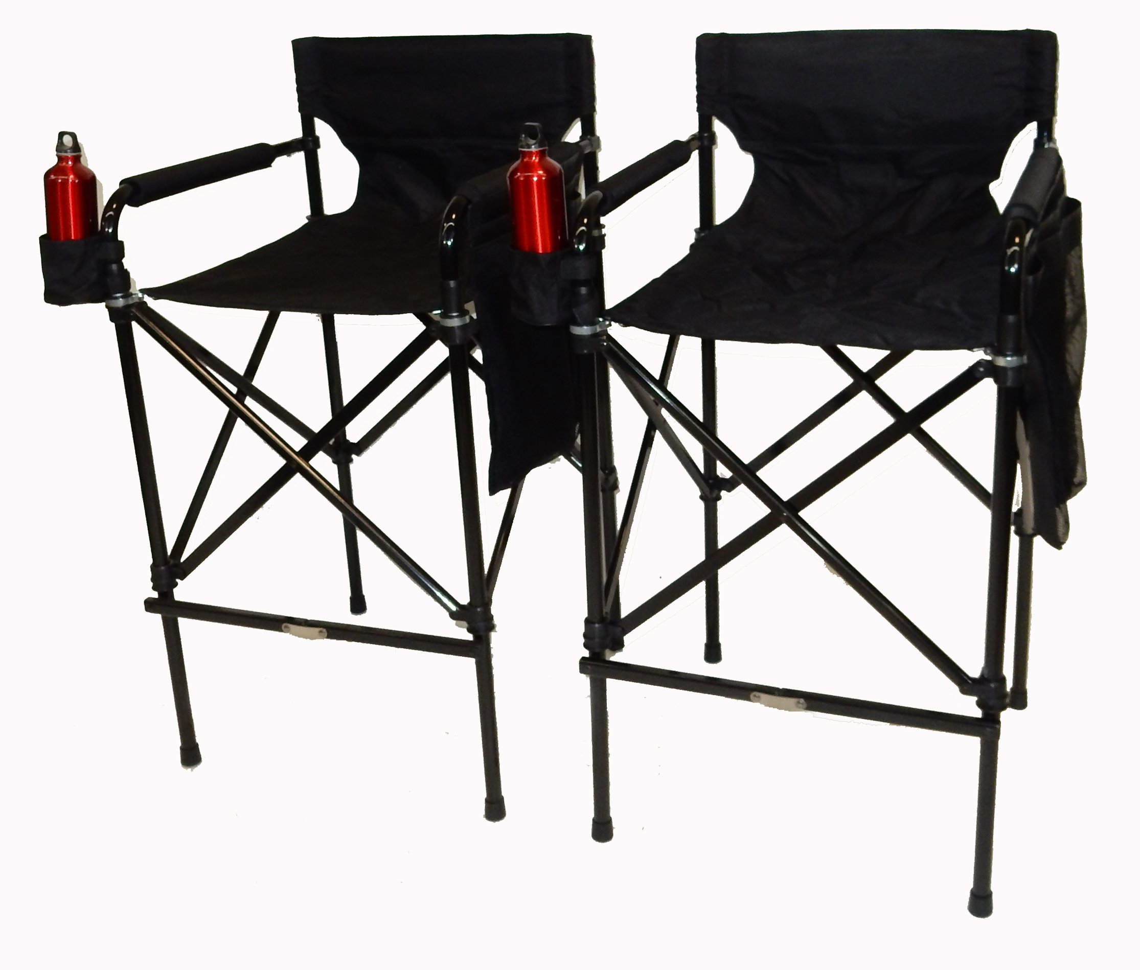 TWO PACK World Outdoor Products Award Winning Black Beauty TELESCOPIC Tall Folding Directors Chairs with Matching Carry Bag.