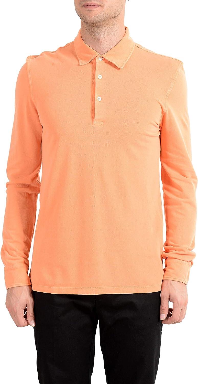 MALO Men's Orange Long Sleeve Polo Shirt US M IT 50 at Amazon ...