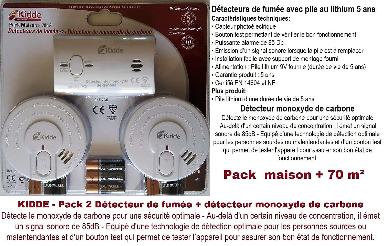KIDDE Pack dé tecteurs de fumé e +dé tecteur Monoxide de Carbone
