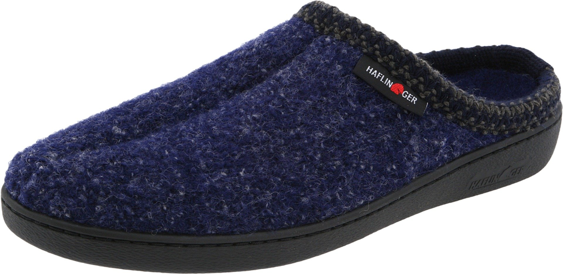Haflinger Unisex AT Classic Hardsole Boiled Wool Hard Sole Slipper, Navy Speckle, 43 EU/12 M US Women's/10 D US Men by Haflinger