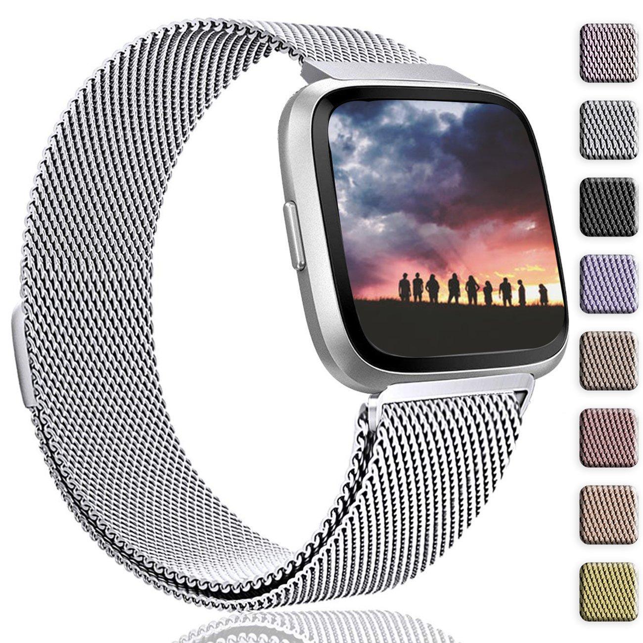 Wepro Fitbit Versaバンド交換用forレディースメンズSmall Large , Milanese Loopステンレススチールメタルブレスレットストラップwith UniqueマグネットロックアクセサリーWristbands for Fitbit Versa Smart Watch B07BLSHT5T Large 6.7