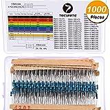 TecUnite 1000 Pieces 50 Values 1% Resistor Kit, 1 Ohm - 6.8E Ohm 1/4W Metal Film Resistors Assortment for DIY and Experiments