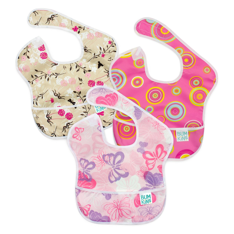Bumkins Baby Bib, Waterproof SuperBib 3 Pack, G6 (Pink Fizz/Butterfly/Flutter Floral) (6-24 Months)
