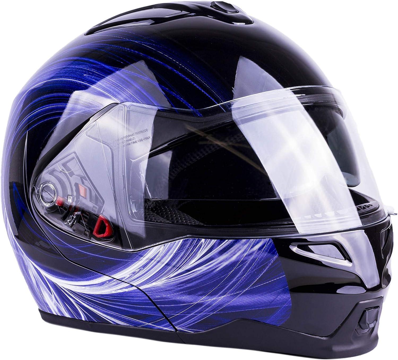 Typhoon G339 Modular Motorcycle Helmet DOT Dual Visor Full Face Flip-up Blue Small
