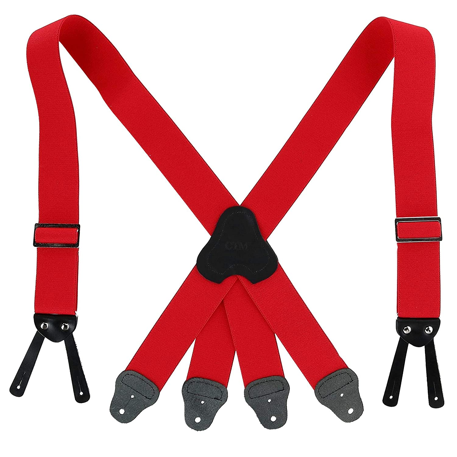 CTM Mens Elastic Button-End 2 Inch Fireman Braces