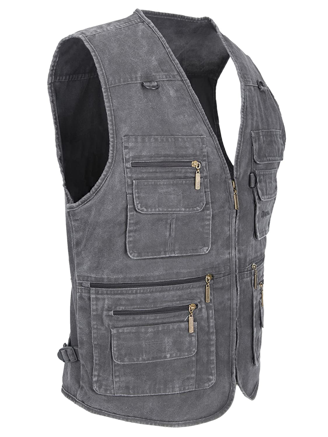 LUSI MADAM Mens Outdoor Vest Multi-Pockets Casual Vest for Work Fishing Photography Journalist