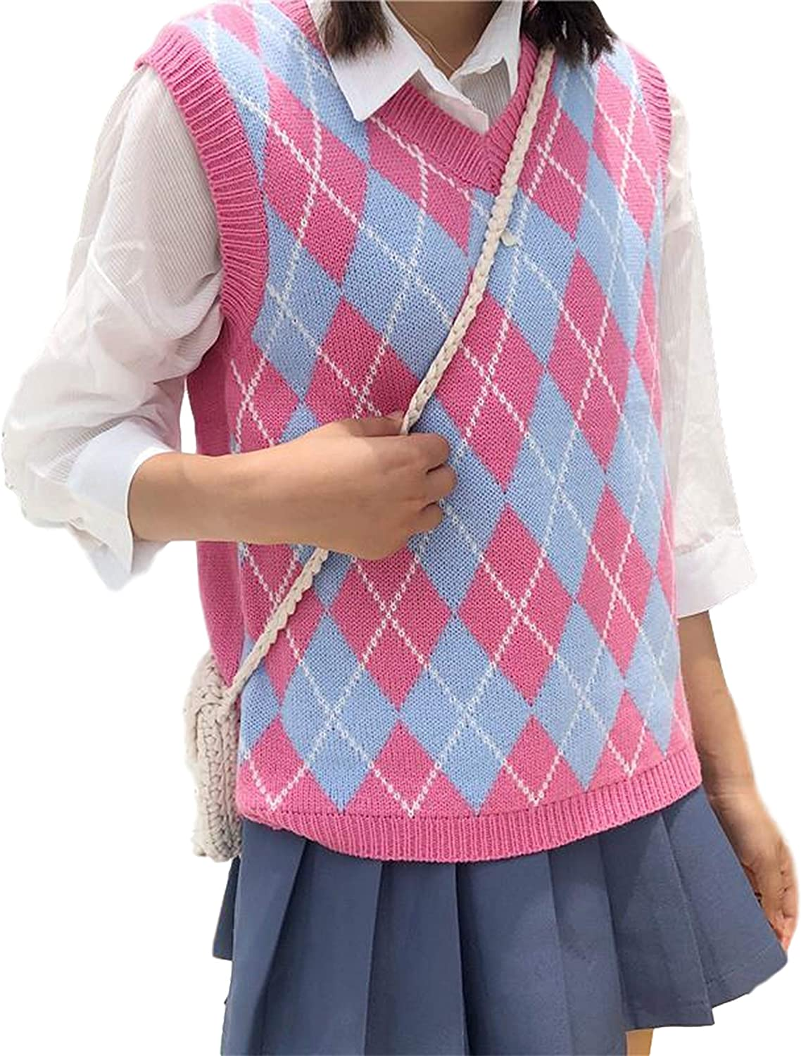 Uaneo Womens Basic Round Neck Sleeveless High Low Pullover Knit Sweater Vest