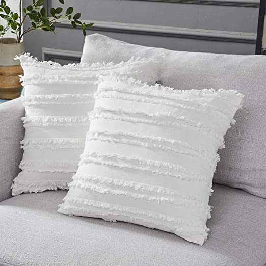 Amazon.com: Longhui bedding Ivory White Throw Pillow Covers for