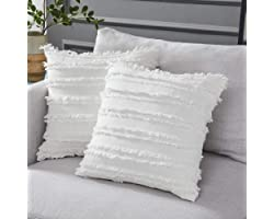 Longhui bedding Ivory White Throw Pillow Covers for Couch Sofa Chair, Cotton Linen Decorative Pillows Cushion Covers, 18 x 18