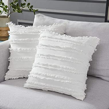 Longhui bedding Ivory White Throw Pillow Covers for Couch Sofa Chair, Cotton Linen Decorative Pillows Cushion Covers, 18 x 18 inches, Set of 2