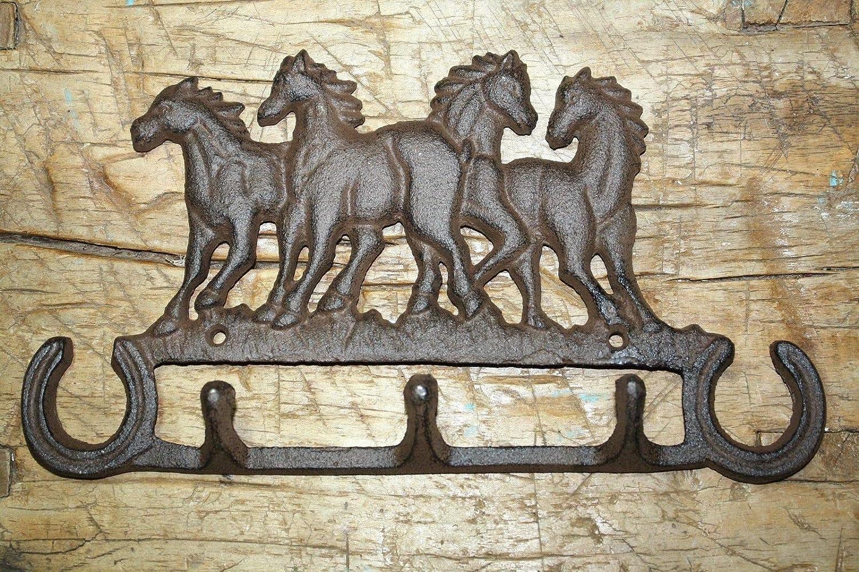 Cast Iron 4 HORSETowel Coat Hooks Hat Hook Key Rack RUSTIC Garden HORSE SHOES