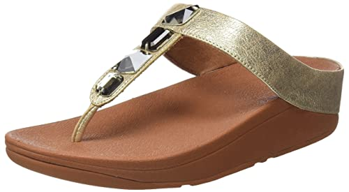 Ruffle Toe-Thong Sandals, Sandalias con Punta Abierta para Mujer, Negro (Black 1), 40 EU FitFlop