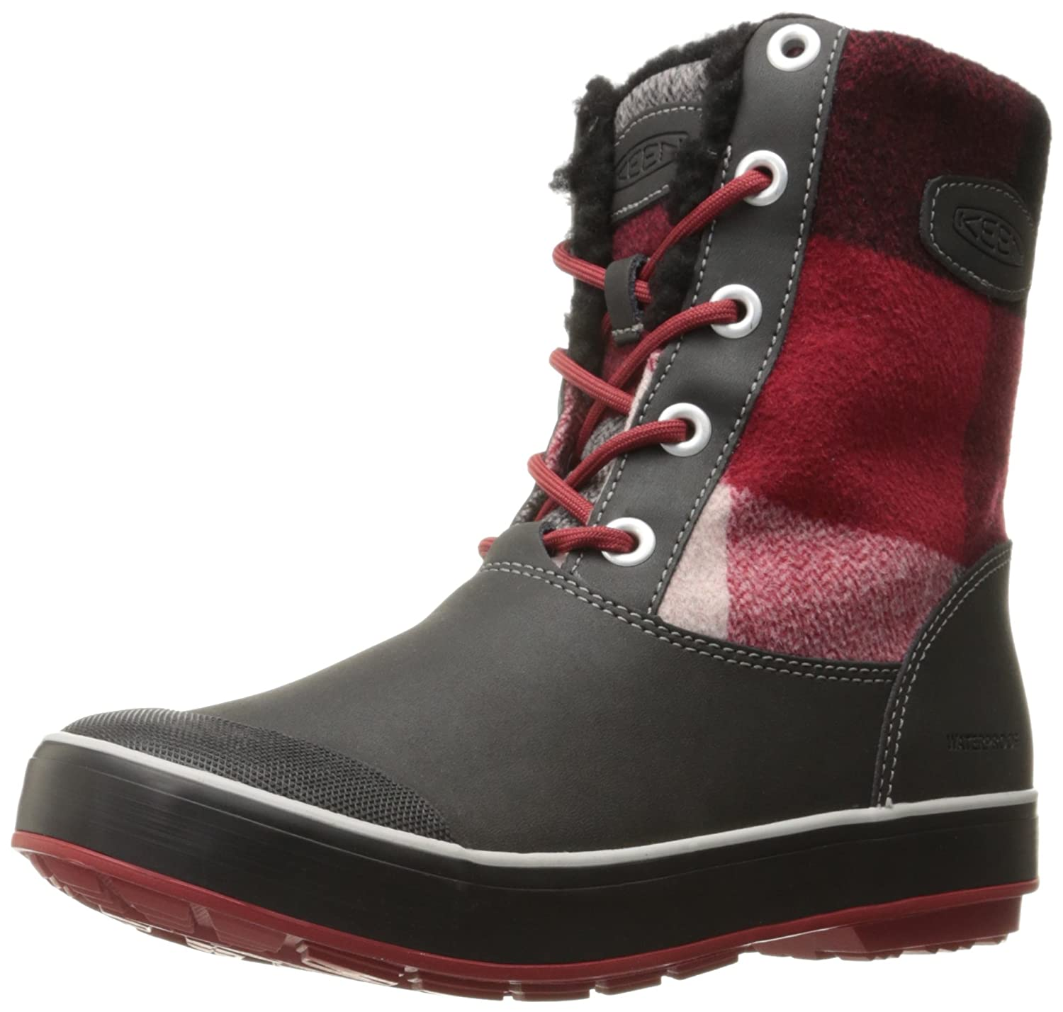 KEEN Women's Elsa Waterproof Winter Boot B01N53IOP5 9.5 M US|Black/Red Dahlia