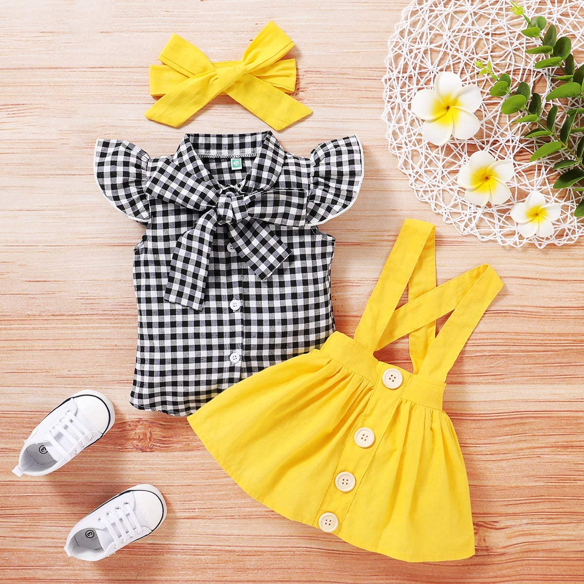 3Pcs Toddler Baby Girls British Style Outfits Clothes Kids Dot Print Tops Blouse Strap Skirt Headbands Set 1-5 T