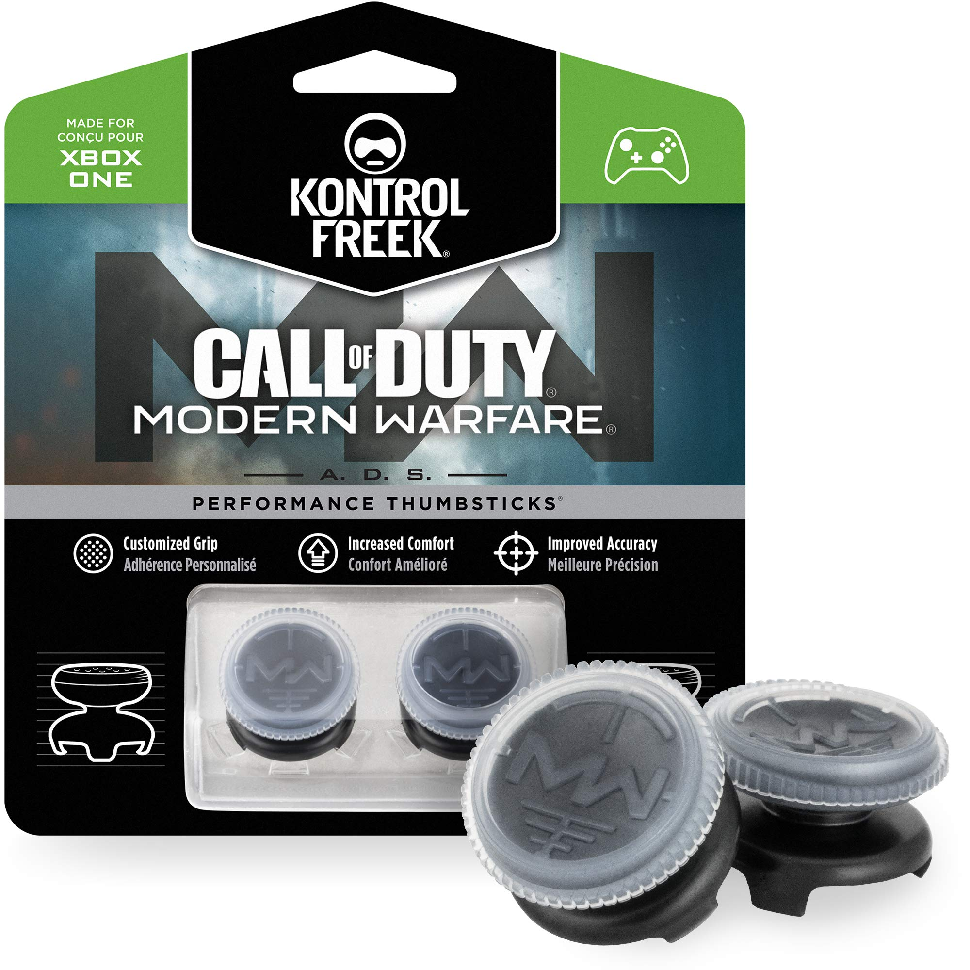 KontrolFreek Call of Duty: Modern Warfare - A.D.S. Performance Thumbsticks for Xbox One Controller | 2 High-Rise, Concave | Transparent/Black by KontrolFreek