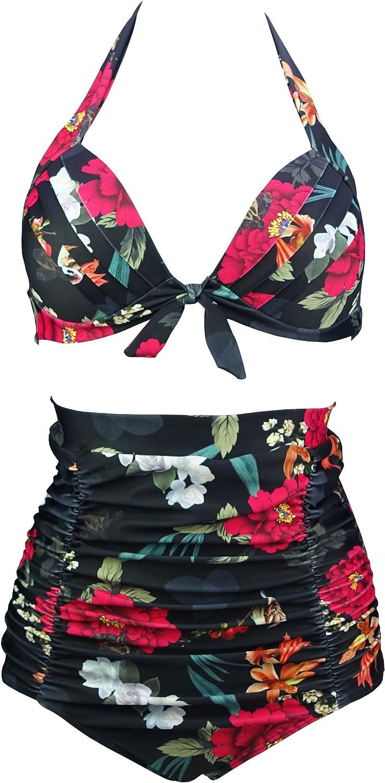 FBA COCOSHIP Retro 50s Black Pink Blue Floral Halter High Waist Bikini Set Halter Carnival Swimsuit