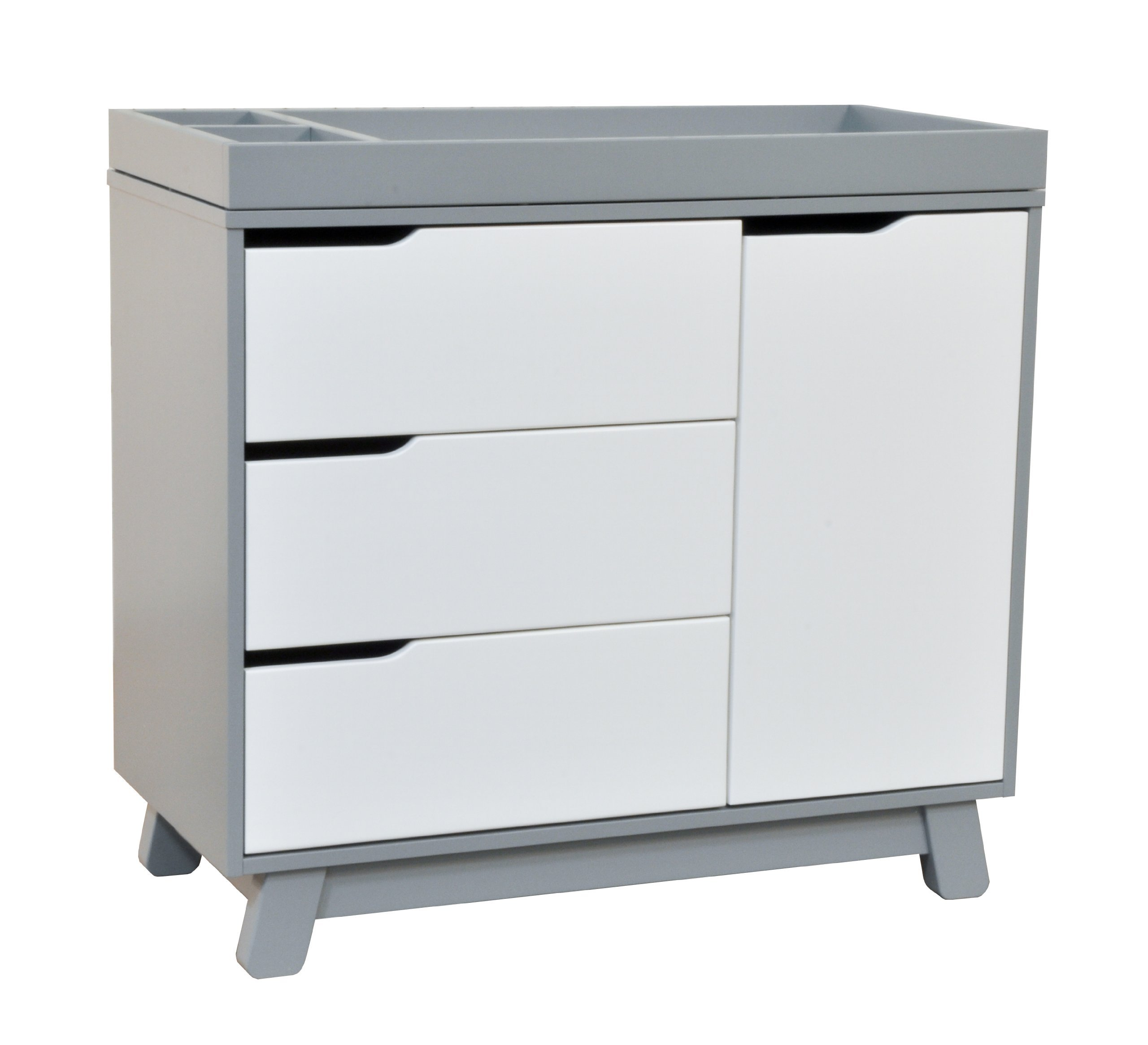 Babyletto Hudson 3-Drawer Changer Dresser with Removable Changing Tray, Grey / White by babyletto