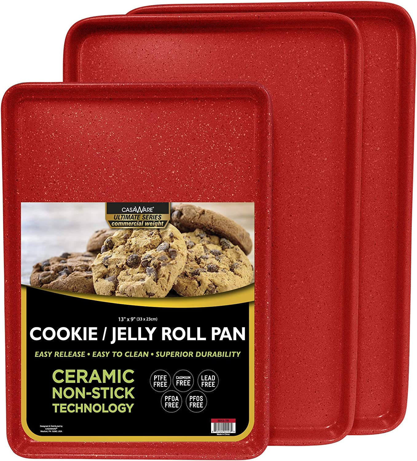 casaWare 3pc Ultimate Commercial Weight Cookie Sheet Set, Two 15 x 10-Inch Pans, One 13 x 9-Inch-Inch Pan (Red Granite)