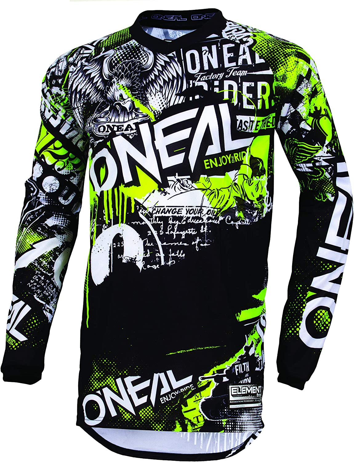 Black, Large ONeal Mens Element Shred Jersey
