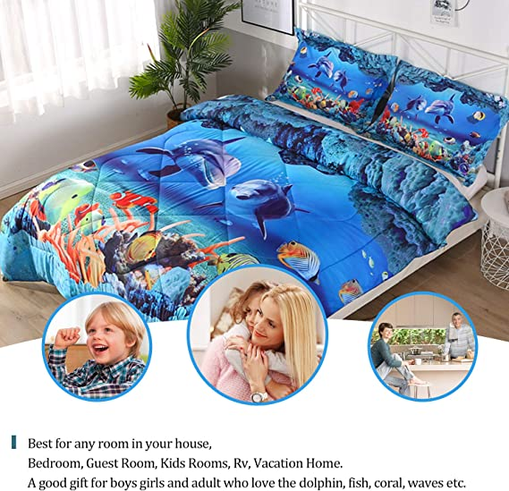 Qucover Twin Size Comfoter Set 2 Pillow Cases for Teens Boys and Girls Blue Dolphin 1 Comforter