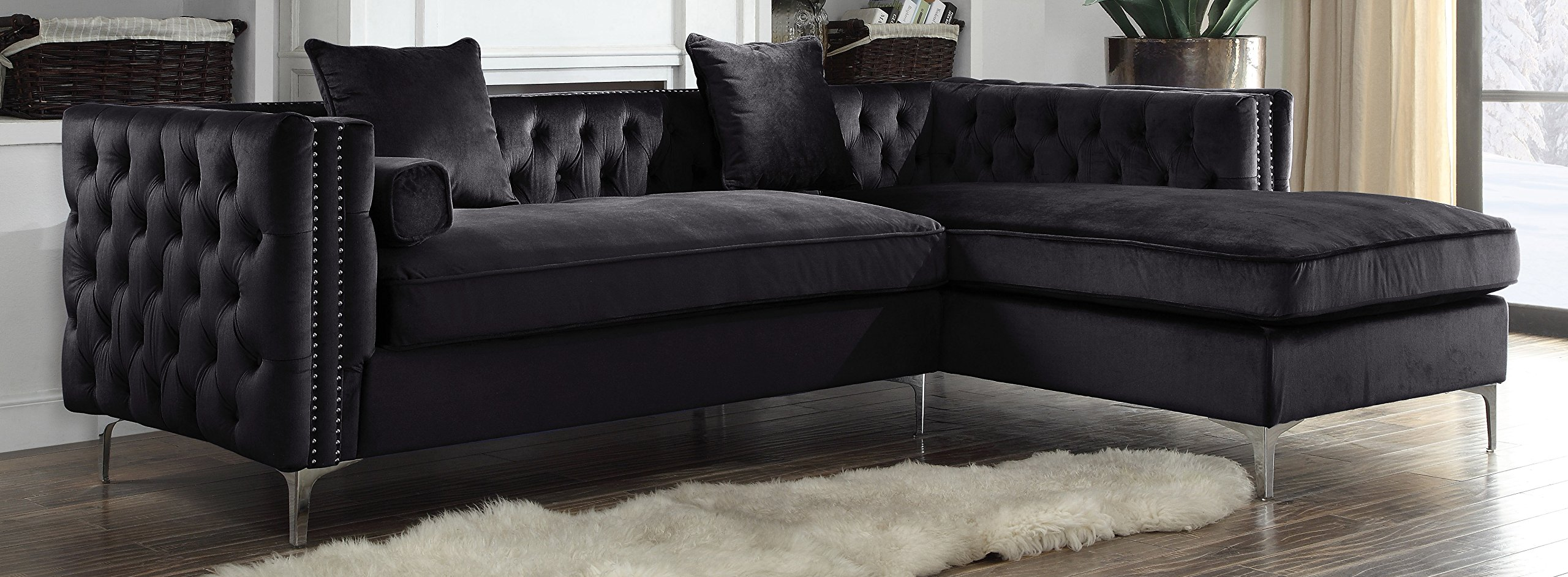 Iconic Home Da Vinci Right Hand Facing Sectional Sofa L Shape Chaise Velvet Button Tufted with Silver Nail Head Trim Silvertone Metal Y-Leg with 3 Accent Pillows, Modern Contemporary, Black