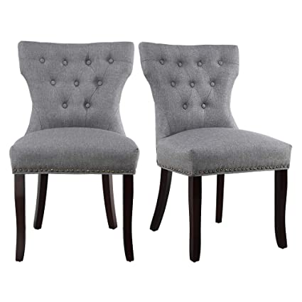 Awesome Set Of 2 Dining Chairs Accent Chairs Of Soft Fabric With Solid Wooden Legs Gray Pdpeps Interior Chair Design Pdpepsorg