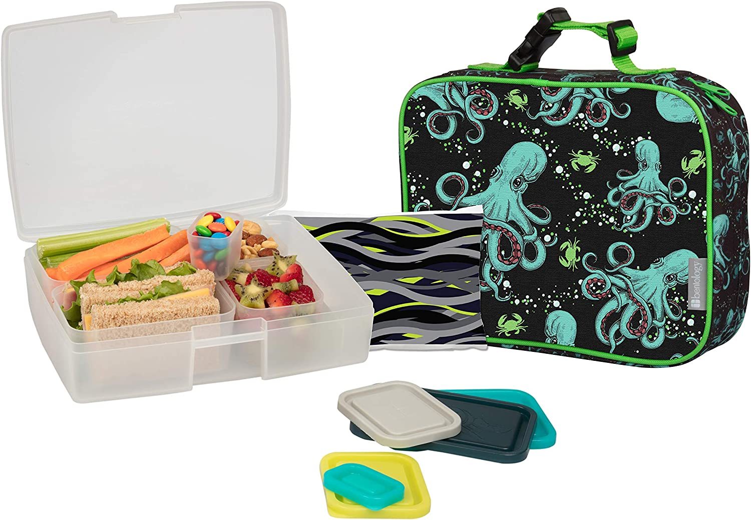 Bentology Lunch Bag and Box Set for Kids - Boys Insulated Lunchbox Tote, Bento Box, 5 Containers and Ice Pack - 9 Pieces - Octopus