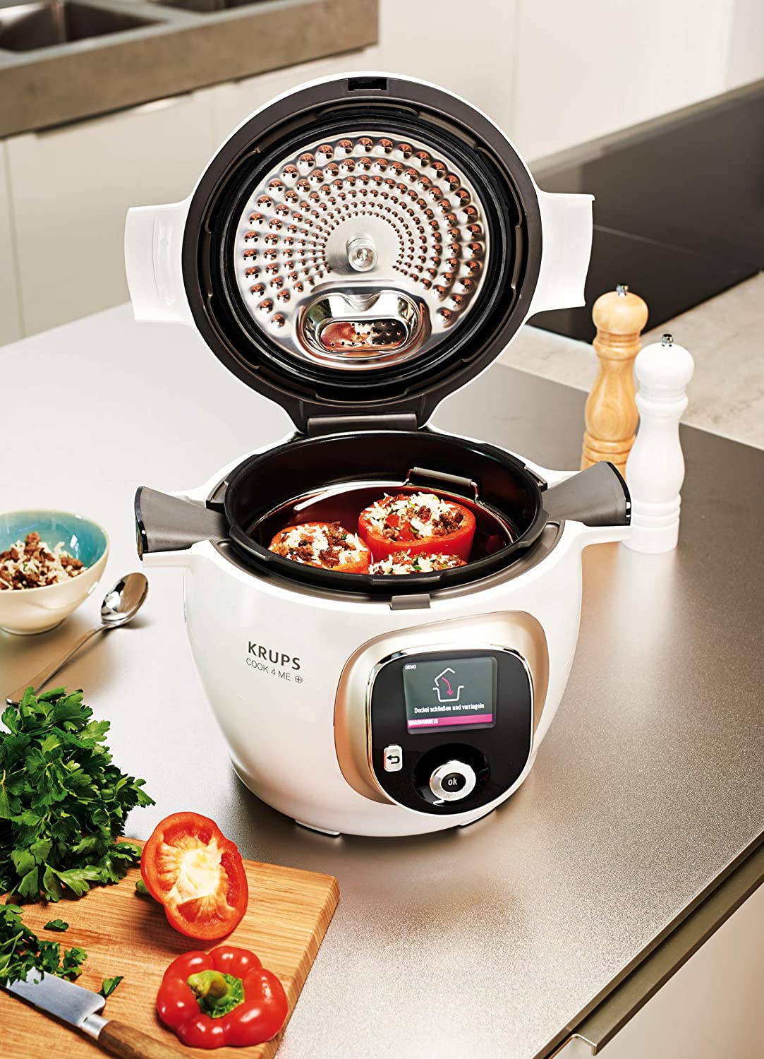 Krups cz7101 Multi eléctrica cook4me Plus, 4 L, 1200 W, color blanco/gris: Amazon.es: Hogar