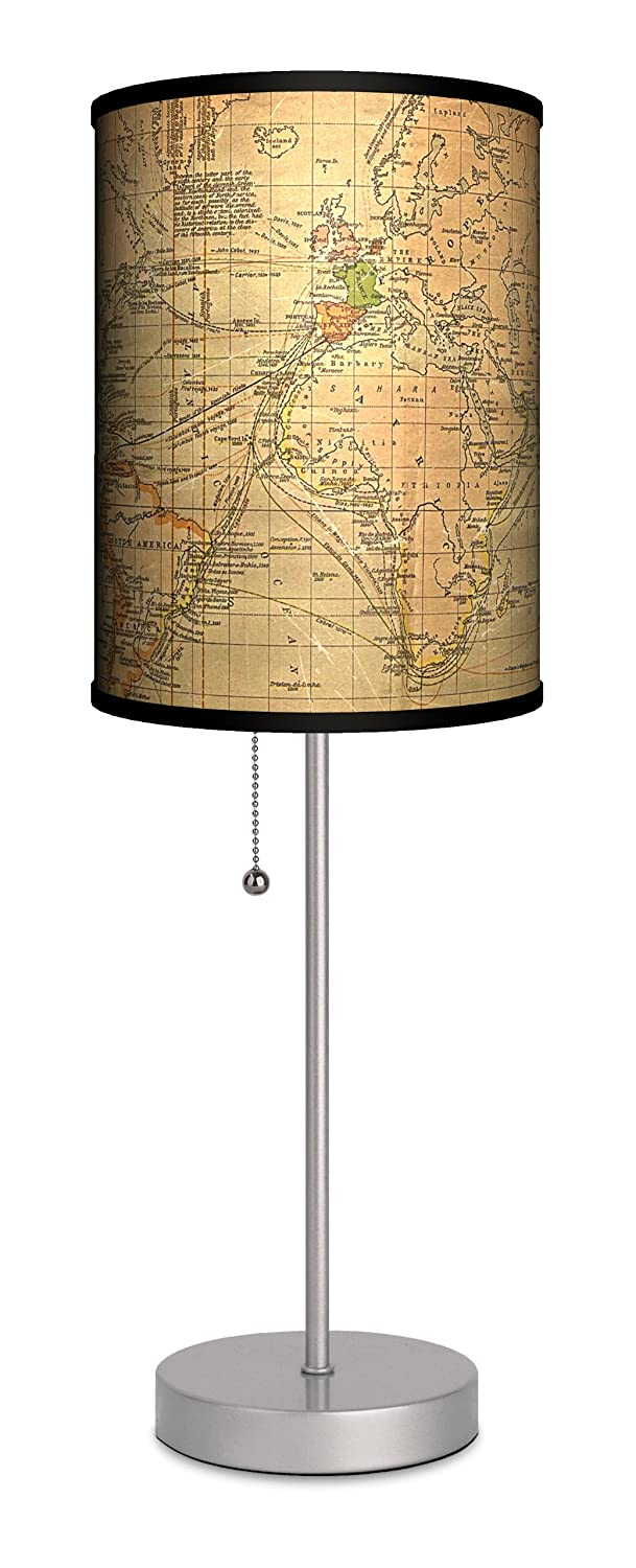 Travel old world map sport silver lamp table lamps amazon mozeypictures Images
