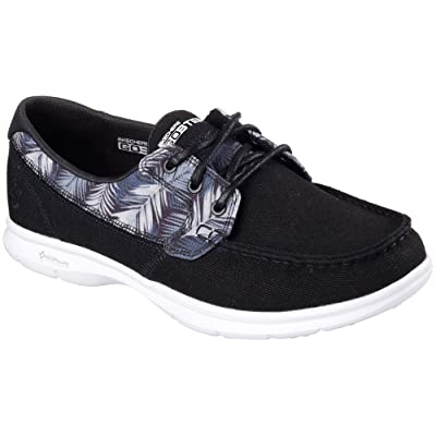 Skechers Womens Go Step Cabana Boat Shoes 8 Black/White | Walking