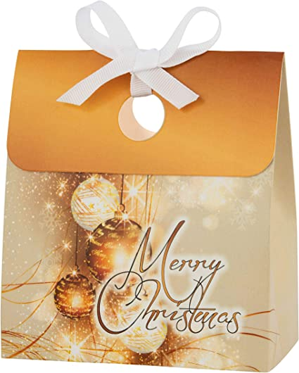 CHRISTMAS XMAS GOLD FAVOUR PARTY GIFT BOXES BOX WITH 2 TISSUE