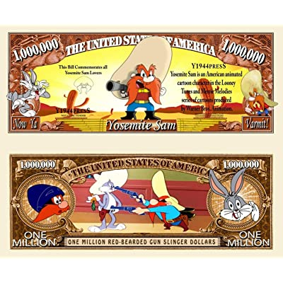 Anime Source Looney Tunes Character Yosemite Sam Bugs Bunny Commemorative Novelty Million Bill with Semi-Rigid Protector: Toys & Games