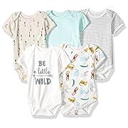 Rene Rofe Baby Baby 5-Pack Unisex Bodysuits, Wild, 6-9 Months
