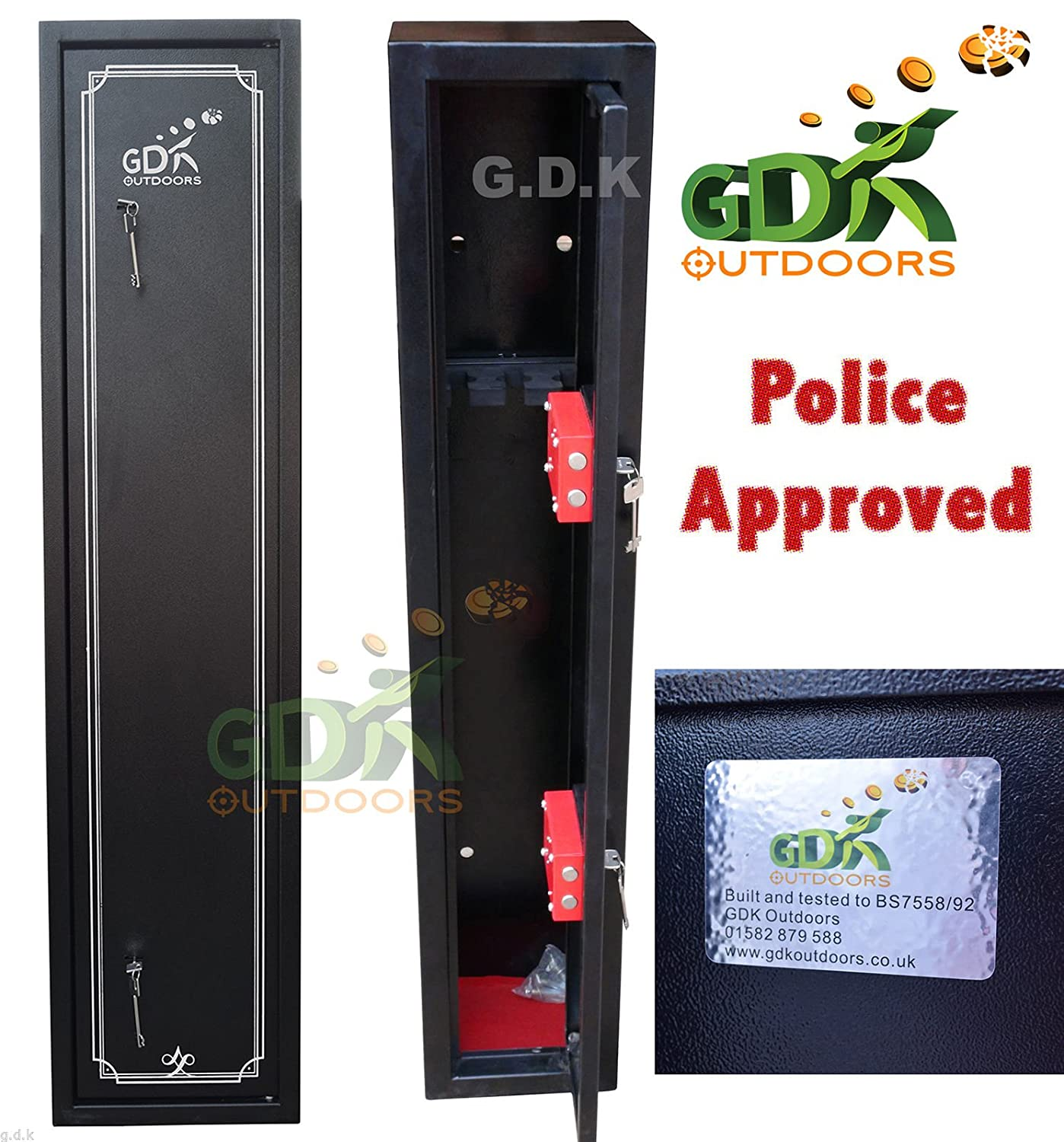 gdk 3 gun cabinet shotgun rifle safe police approved bs755892 amazoncouk sports u0026 outdoors