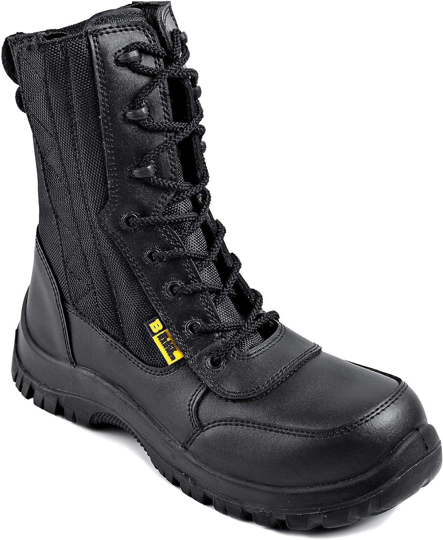 Botas de Seguridad Impermeables para Hombre 9999 de de Cuero con Puntera de Acero S2 SRC, Cremallera y al Tobillo, Estilo ejército Militar para Combate