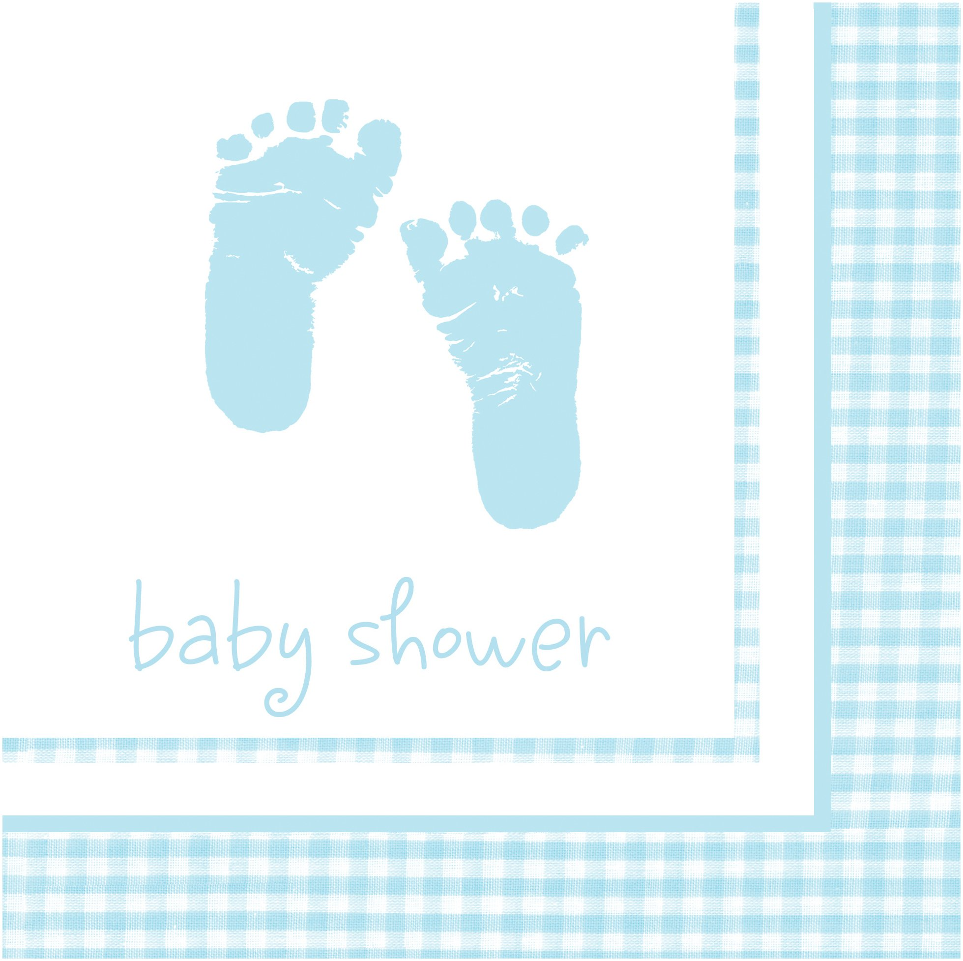 Creative Converting Celebrations 16 Count Plaid Baby Boy Lunch Napkins, Blue