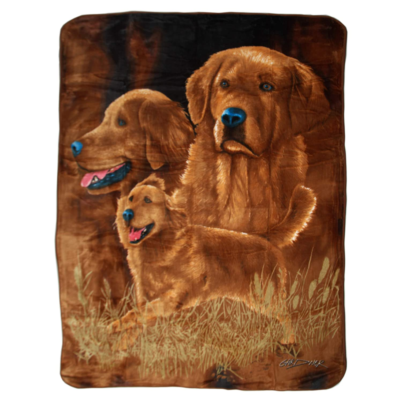 "Royal Plush Extra Heavy Queen Size Mink Blanket - Golden Retrievers (79"" x 85"")"