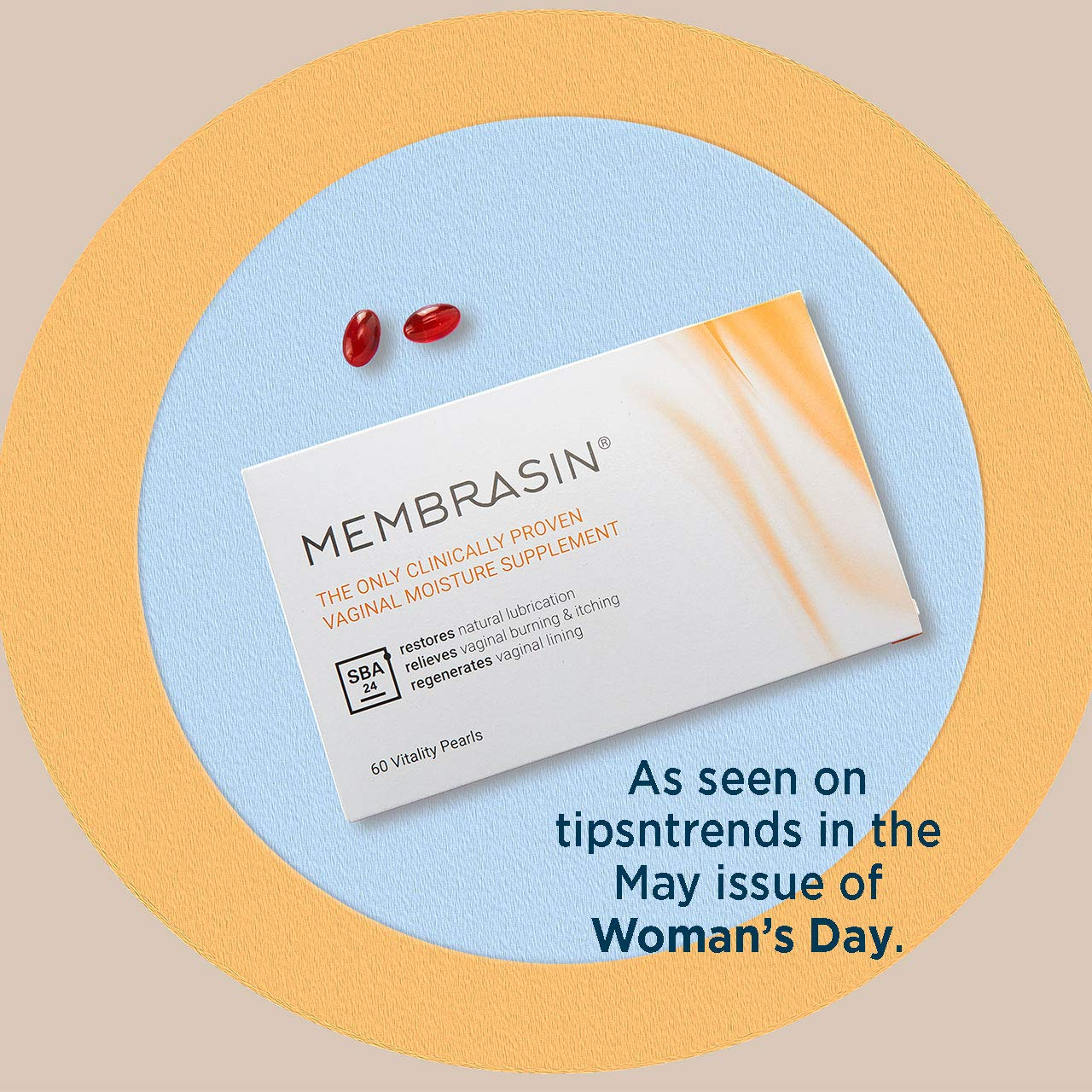 Membrasin Feminine Moisturizer Supplement for Dryness - 100% Natural Daily Take Orally Clinically Proven to Help Restore Moisture - Relieves Dry Feminine Area Burning & Itching for Women & Menopause : Beauty