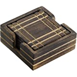 SouvNear Mango Wood Drink Coaster and Holder Set (6-Pieces)
