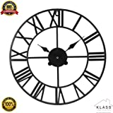 Klass Home Collection Stunning Skeleton Indoor/Garden Wall Clock Large Roman Numeral Open Face Metal Clock Round Iron Black (40 CM)