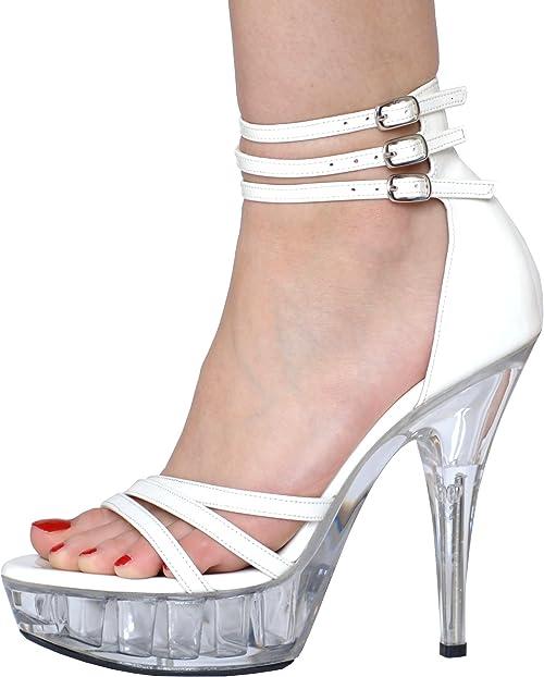 White PVC Platform High Heel Sandals