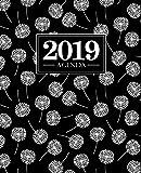 Agenda 2019: 19x23cm: Agenda 2019 settimanale italiano: Fantasia con soffioni nero, bianco e verde acqua 4725