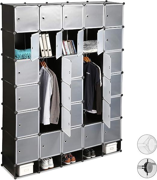 Relaxdays Xxl Kleiderschrank Stecksystem 25 Fächer Groß 5 Kleiderstangen Schlafzimmerschrank Hxb 234x180 Cm Schwarz Standard