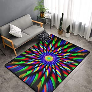 Soft Area Rug for Bedroom,60x39inch Kaleidoscope Tie Dye Windmill Black Rugs, Carpet for Living Room, Rugs for Girls Baby Room, Rug for Kids Room,Nursery, Dorm, Anti Slip Rectangle Rug, Home Decor