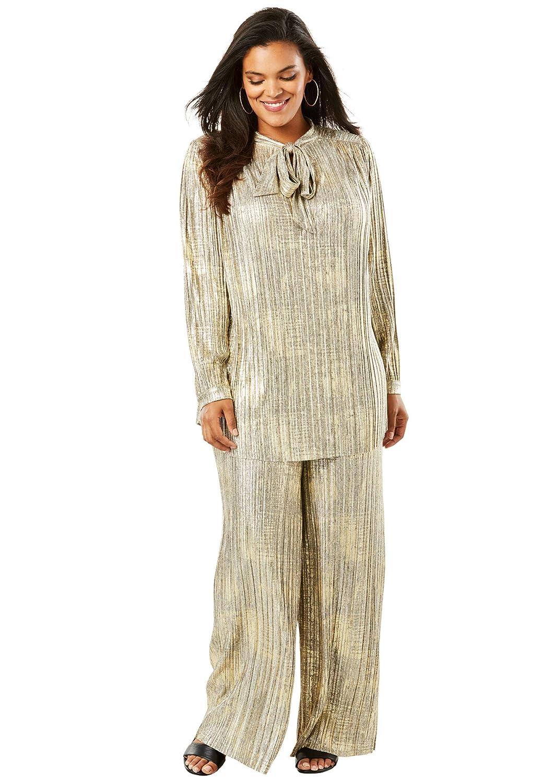 845462aede0 Amazon.com  Roamans Women s Plus Size 2-Piece Metallic Pant Set with  Pleating  Clothing
