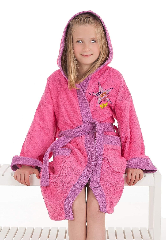Secaneta–Accapatoio Bambini per bambina e ragazza di cotone 100% Mod. STAR Niña 10 a 12 años rosa / viola José Albero Puerto S.L.